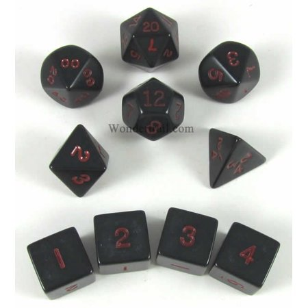 Black with Red Opaque Polyhedral Dice Set 10pc Set in Tube Multi-Colored