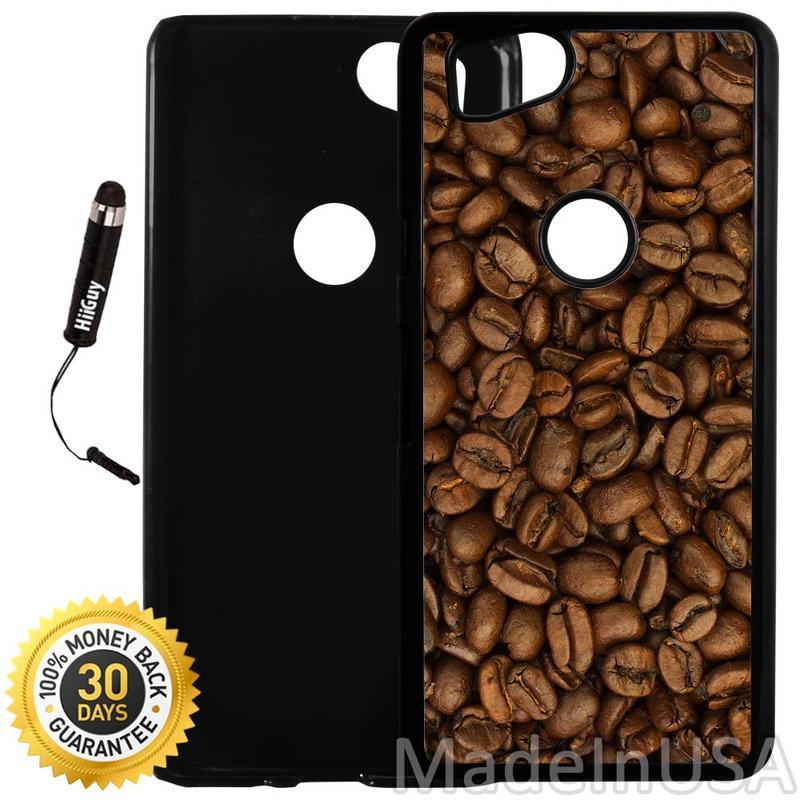 Custom Google Pixel 2 Case (Coffee Beans) Plastic Black Cover Ultra Slim | Lightweight | Includes Stylus Pen by Innosub