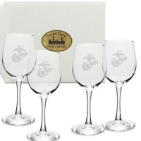US Marines Deep Etched White Wine Glass Set of 4