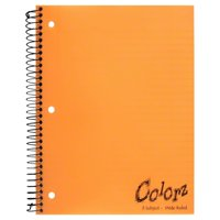 Norcom Colorz 3-Subject Notebook, Wide Ruled, 10.5 x 8 Inches, 4 Assorted Colors, 138-Count, 1 Notebook per Order, Color May Vary (77385-9)