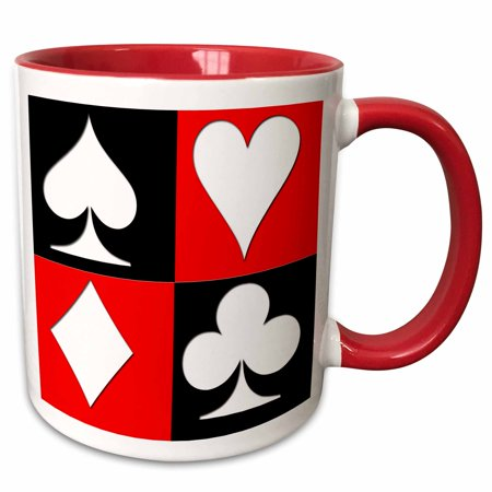 3dRose Poker. Four of a kind. Aces. Popular image. Best seller. - Two Tone Red Mug, 11-ounce