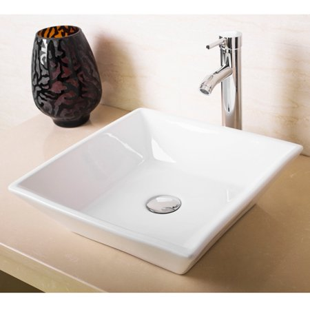 Modern Bathroom White Square Porcelain Ceramic Vessel Sink Bowl & Faucet Combo - Modern Bathroom Sinks