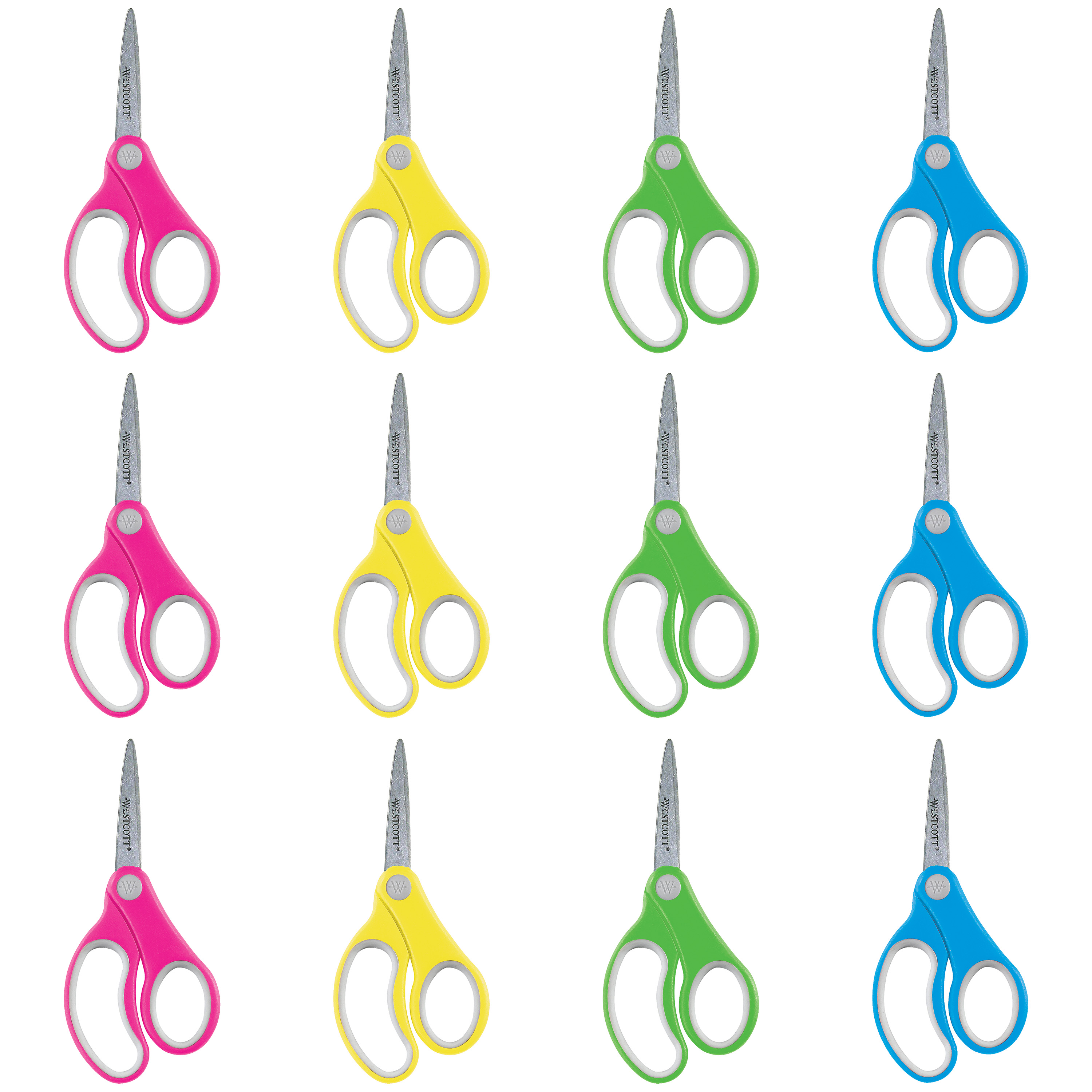 "Westcott 5"" Pointed Soft Handle Scissors, 12 Pack Classroom"