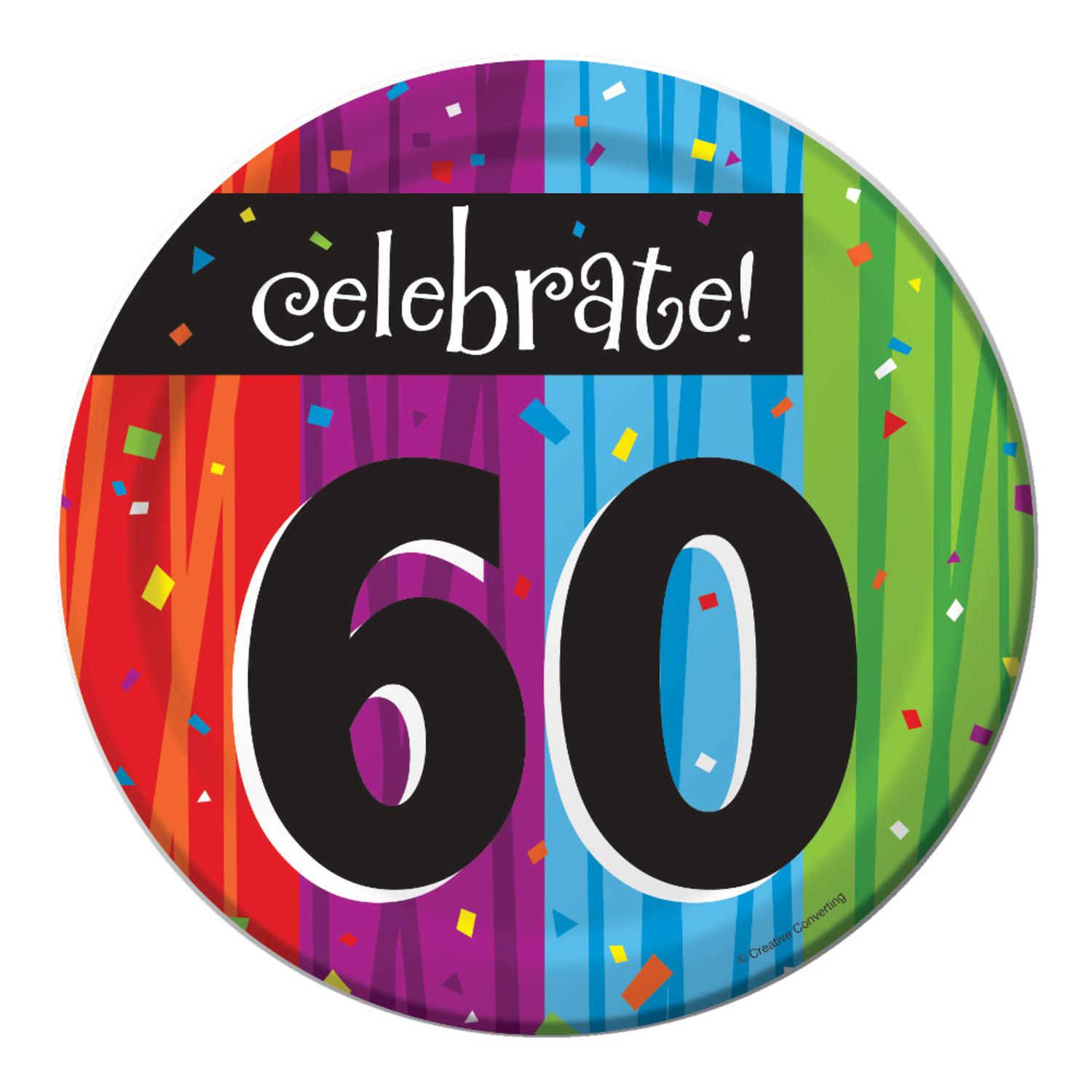 "Club Pack of 96 Milestone Celebrations ""Celebrate 60"" Disposable Paper Party Lunch Plates 7"""
