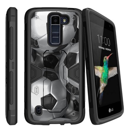 LG K7   LG Tribute 5 Dual Layer Shock Resistant MAX DEFENSE Heavy Duty Case with Built In Kickstand - Soccer - Defense Soccer Drills