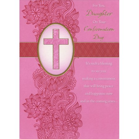 Designer Greetings Pink Column of Flowers on Pink Cross Confirmation Card for Daughter ()