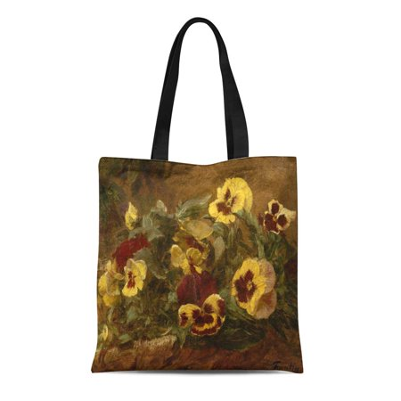 SIDONKU Canvas Tote Bag Pansies By Henri Fantin Latour 1903 French Impressionist Painting Durable Reusable Shopping Shoulder Grocery Bag