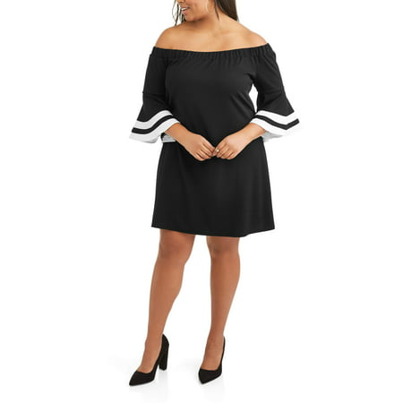 Beaded Trim Shift Dress (Women's Plus On Off Bell Sleeve Shift Dress With Trim )