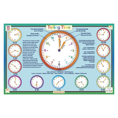 Placemat - Tot Talk - Telling Time  Meal Dinning Kids Mat