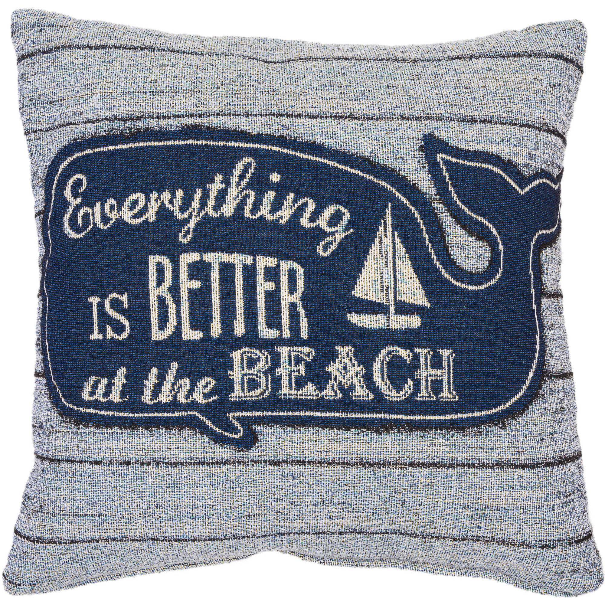 """Better Homes and Gardens Better at the Beach Tapestry Whale Pillow, 18"""" x 18"""""""