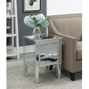 Convenience Concepts Gold Coast 3 Drawer Mirrored End Table, Silver