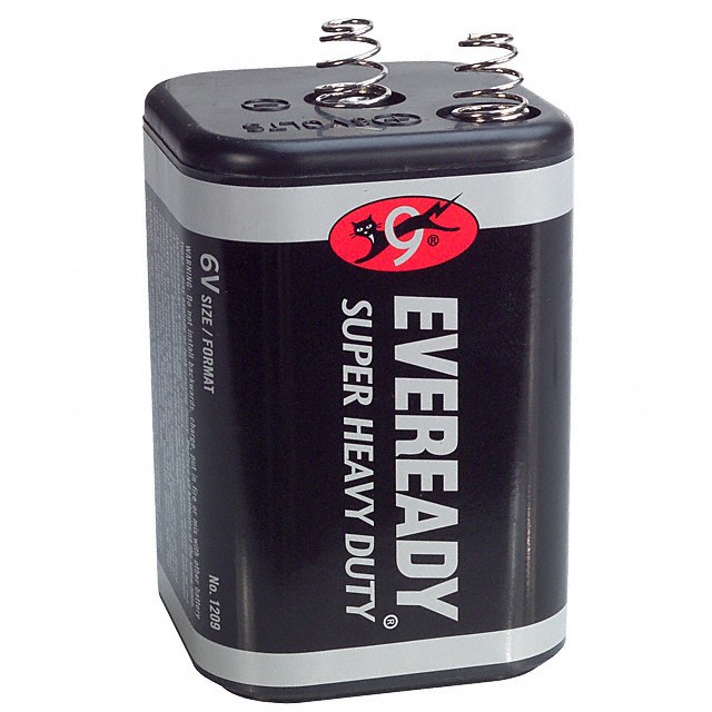 6 Pack Eveready 1209 Super Heavy Duty 6 Volt Spring Top Lantern Battery by