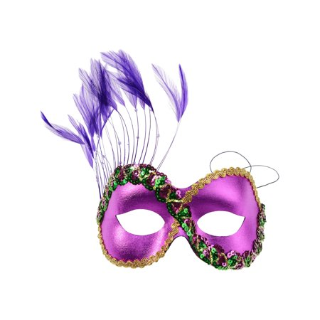 Hot Pink Feather Eye Mask Italian Sequin Mardi Gras Costume Accessory Face Mask Sizes: One Size - Best Mardi Gras Costumes