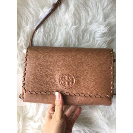 829198a9bad3 Tory Burch - NWT Tory Burch Marion Flat Wallet Crossbody Bark Brown Combo  Clutch Shoulder Bag - Walmart.com