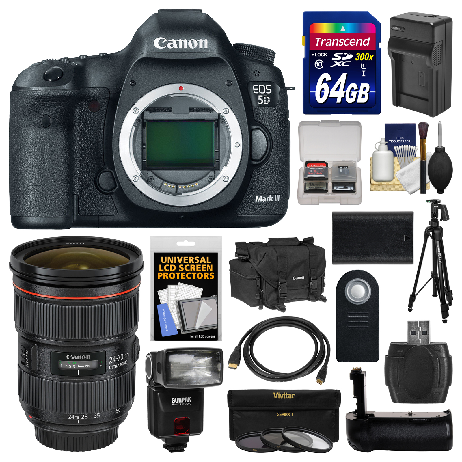 Canon EOS 5D Mark III Digital SLR Camera Body with 24-70mm f 2.8 L Lens + 64GB Card + Case + Flash + Battery Charger +... by Canon