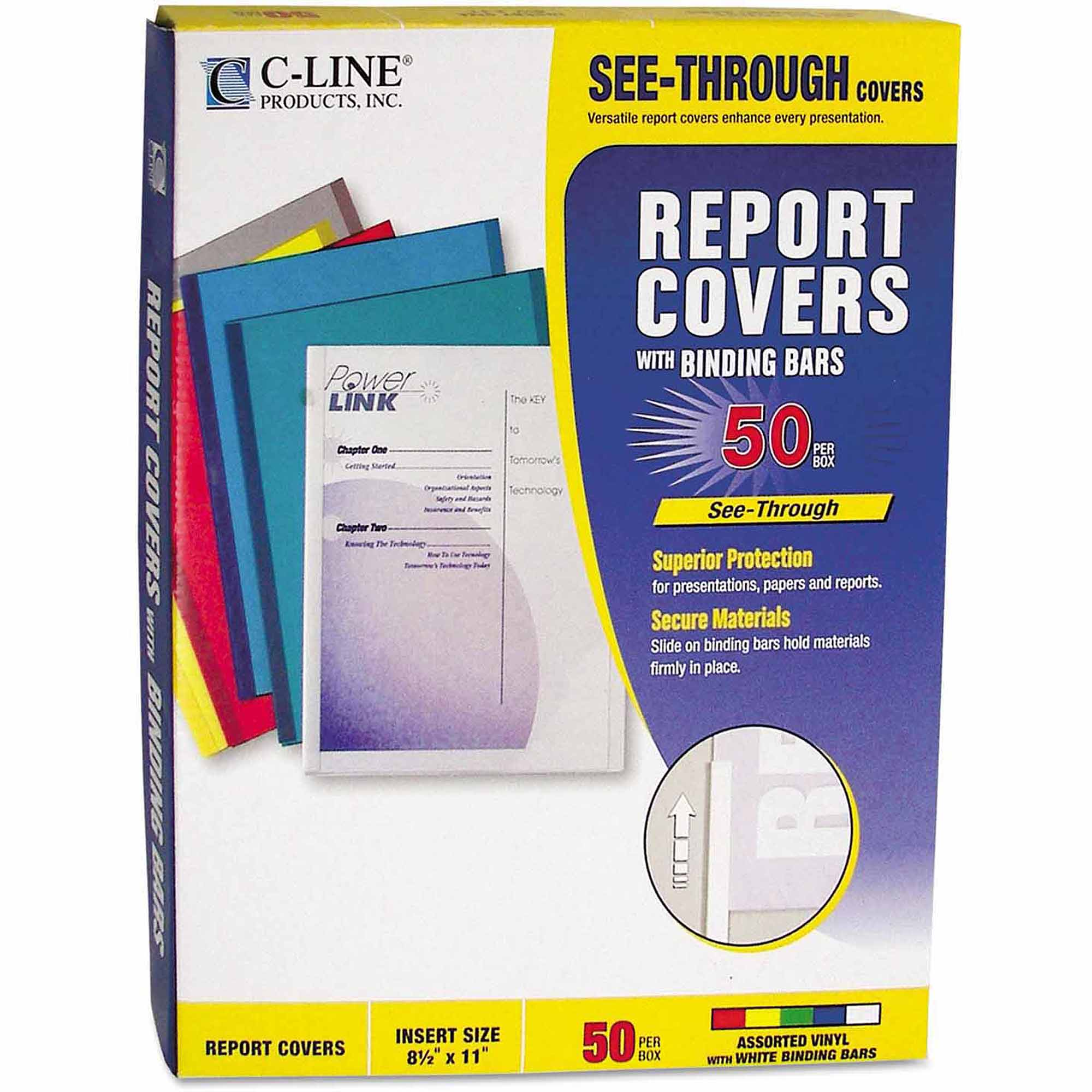 "C-Line Vinyl Report Covers with Binding Bars, White Binding Bars, 11"" x 8-1/2"", 50/Box"