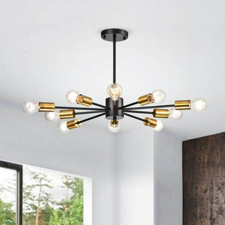 The Lighting Store Lorena Sputnik 10-Light Chandelier in Black and Metallic Gold Finish