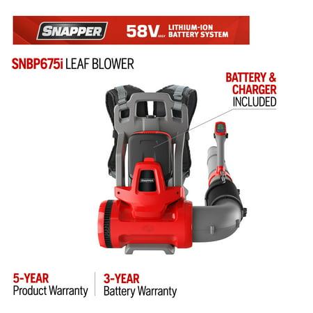 Snapper 58-Volt Cordless 675 CFM 130 MPH Backpack Leaf Blower (Battery
