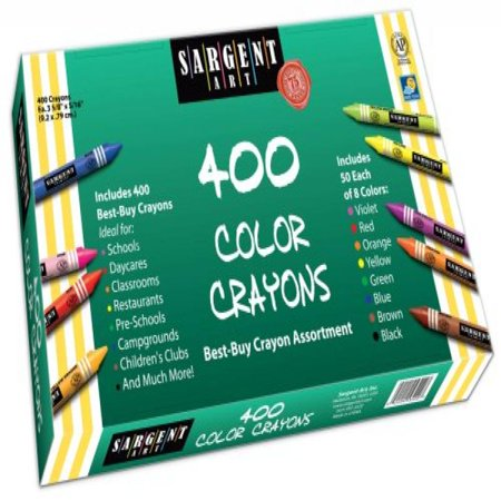 Sargent Art 400-Count Crayon Class Pack, Best-Buy Assortment, 3-5/8 Inch,