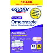Equate Acid Reducer Omeprazole Capsules, 20 mg, 42 Count, 3 Pack