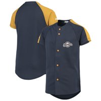 Milwaukee Brewers Stitches Youth Logo Button-Down Jersey - Navy