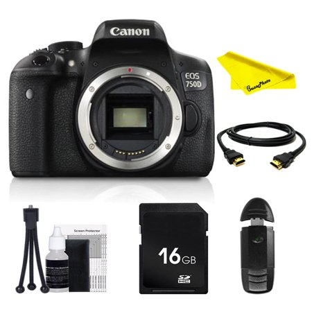 Canon EOS Rebel 750D DSLR Camera (Body Only) with SD Card + Buzz-Photo Beginners