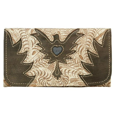 Distressed Tri Fold - American West 9265282 Eagle Heart Ladies Tri-Fold Wallet - Cream & Distressed Charcoal Brown