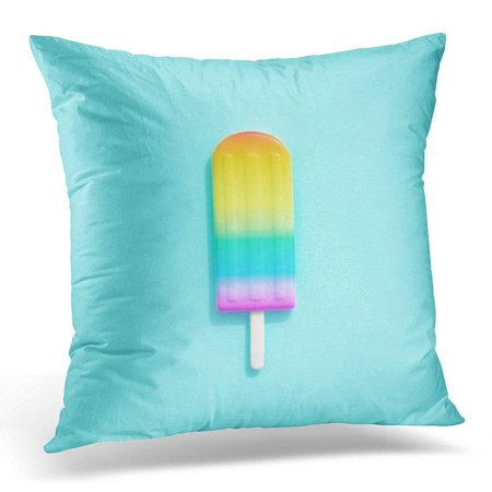 Red Ribbon Week Door Ideas (USART Colorful Bright Rainbow Ice Cream on Blue Minimal Creative Idea Red Object Pillows case 18x18 Inches Home Decor Sofa Cushion)