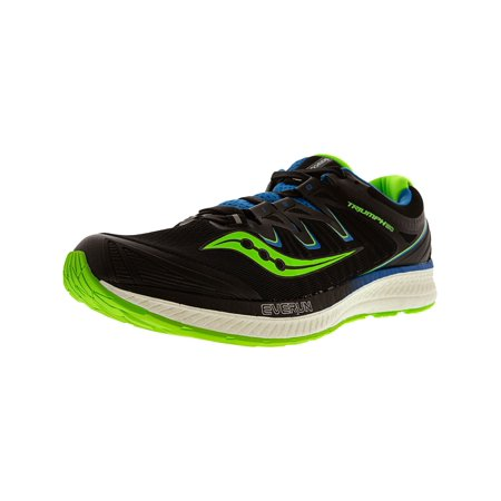 Saucony Men's Triumph Iso 4 Black / Slime Blue Ankle-High Mesh Running Shoe - 13M (Saucony Hurricane 15)