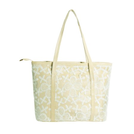 Beaded Flower Tote - Unique Bargains Women's Zipper Closure Flower Embroidery Panel Interior Pockets Totes