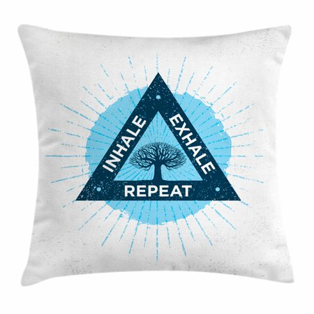 Inhale Exhale Throw Pillow Cushion Cover, Spa Yoga Meditation in Triangle with Tree of Life Tranquil Graphic, Decorative Square Accent Pillow Case, 16 X 16 Inches, Night Blue and White, by Ambesonne