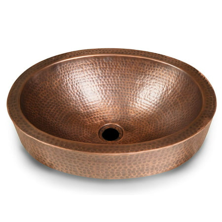 Monarch Abode Pure Copper Hand Hammered Skirted Bathroom Sink (17 inches)