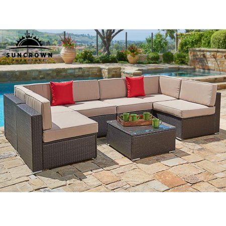 Suncrown Outdoor Patio Furniture Set (7-Piece Set) Brown Wicker Patio Sofa  Set - Suncrown Outdoor Patio Furniture Set (7-Piece Set) Brown Wicker