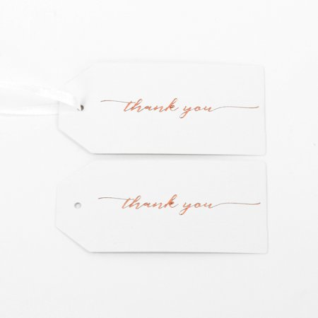 Koyal Wholesale Gift Tag Thank You Rose Gold Foil Favor Tags, in Bulk 100-Pack Gift Tag Labels with Gift Tag Ribbon ()