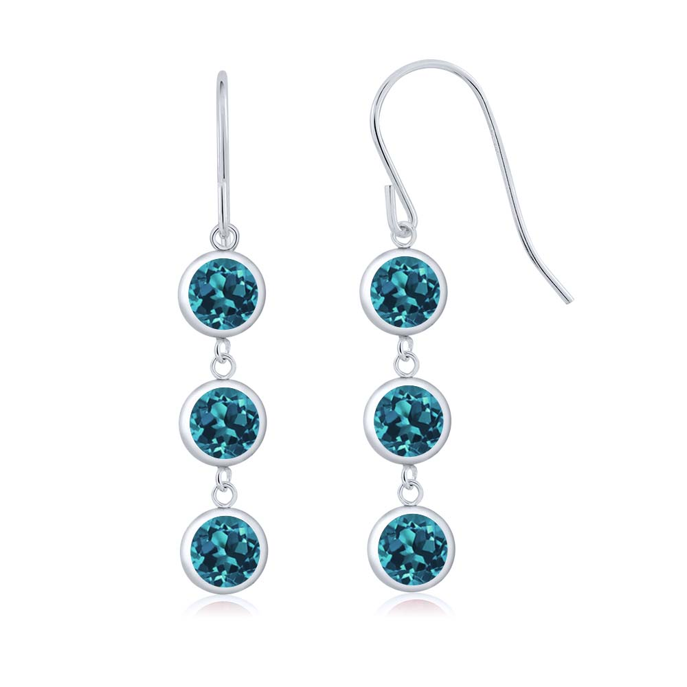 3.30 Ct Round London Blue Topaz 925 Sterling Silver Earrings