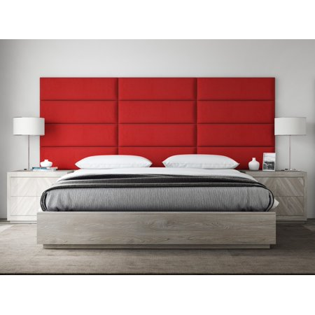 VANT Upholstered Headboards - Accent Wall Panels - Packs Of 4 - Suede Red Melon - 39