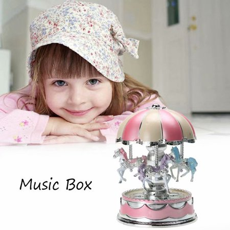 Romantic LED Light Merry-Go-Round Carousel Horse Music Box Toy Christmas Birthday Gift Christmas Carousel Music Box