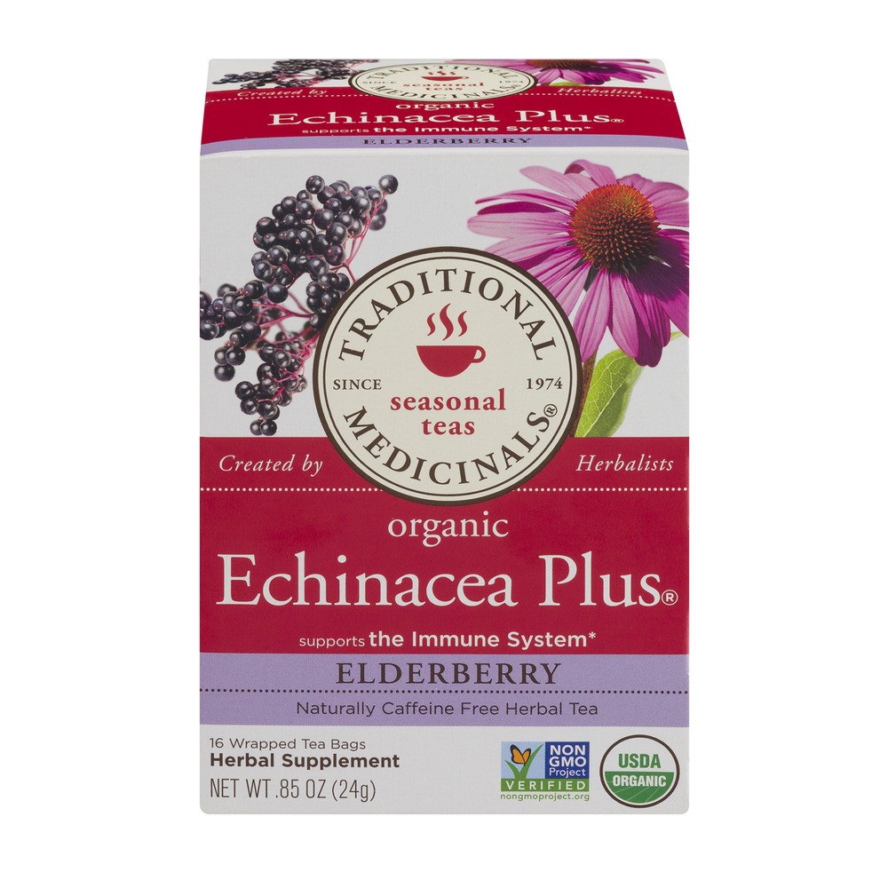 Traditional Medicinals Seasonal Teas Organic Echinacea Plus Elderberry Wrapped Tea Bags - 16 CT