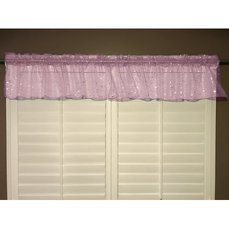 sheer organza window valance 58 wide light pink with silver stars