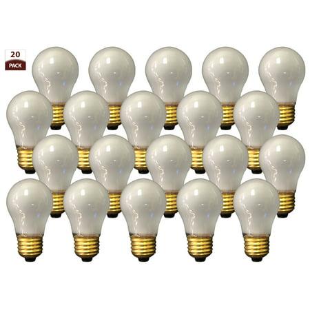 Royal Designs 20 Pack Long Life Appliance Utility Light Bulbs 60-Watt Frosted A-15