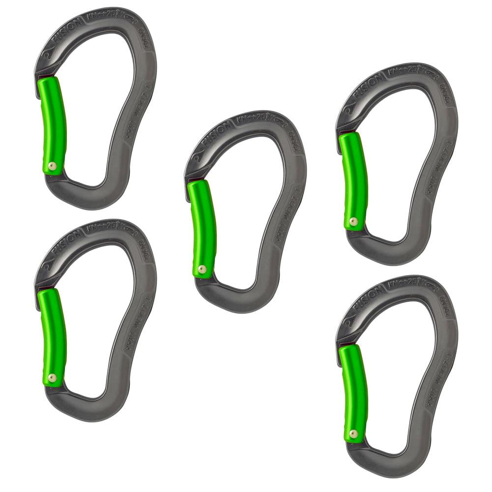 Fusion Climb Techno Zoom Bent Gate Ergonomic Carabiner Gray/Green 5-Pack