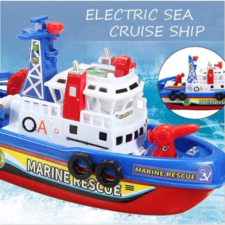 Electric Rescue Ship Fire Boat Water Squirts Light Music Baby Children Kid