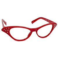 50s Style Adult Red Cateye Rhinestone Glasses](50s Style Glasses)