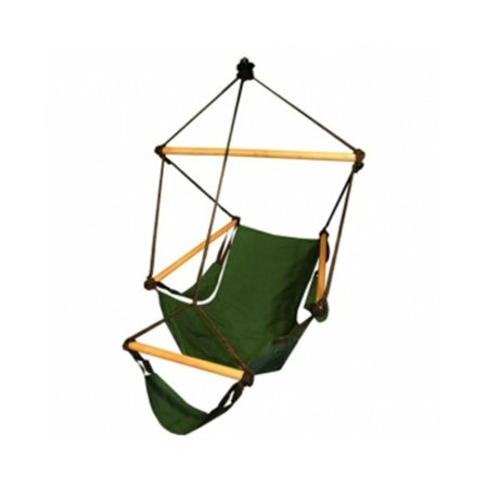 Hammaka Cradle Chair Feel free to rock yourself to sleep on a lazy Sunday afternoon in the Hammaka Cradle Chair. Made with sturdy hardwood dowels and UV-protected 600-denier polyester, this zero-gravity chair is made to withstand the elements and still look good at the end of the day. The Hammaka Cradle Chair, available in either midnight blue or hunter green, offers extreme comfort with detachable armrests and a footrest for relaxing in any setting. Enjoy simple installation with the included hanging hardware. 350-pound capacity. Dimensions: 46L x 36W x 32H inches.    About HammakaHammaka products, now brought to you by King's Pond, are designed to provide a comfortable getaway from all of life's stresses. It all started with the Original Hammaka Hammock Chair, but the wide variety of luxurious chairs is constantly growing in order to give you the perfect fit