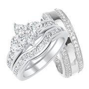 his and hers marquise wedding ring set matching sterling silver bands for him and her - Wedding Ring Set For Her
