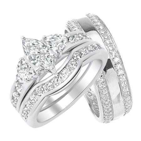Marquis Band Ring (His and Hers Marquise Wedding Ring Set Matching Sterling Silver Bands for Him and Her (5/8))