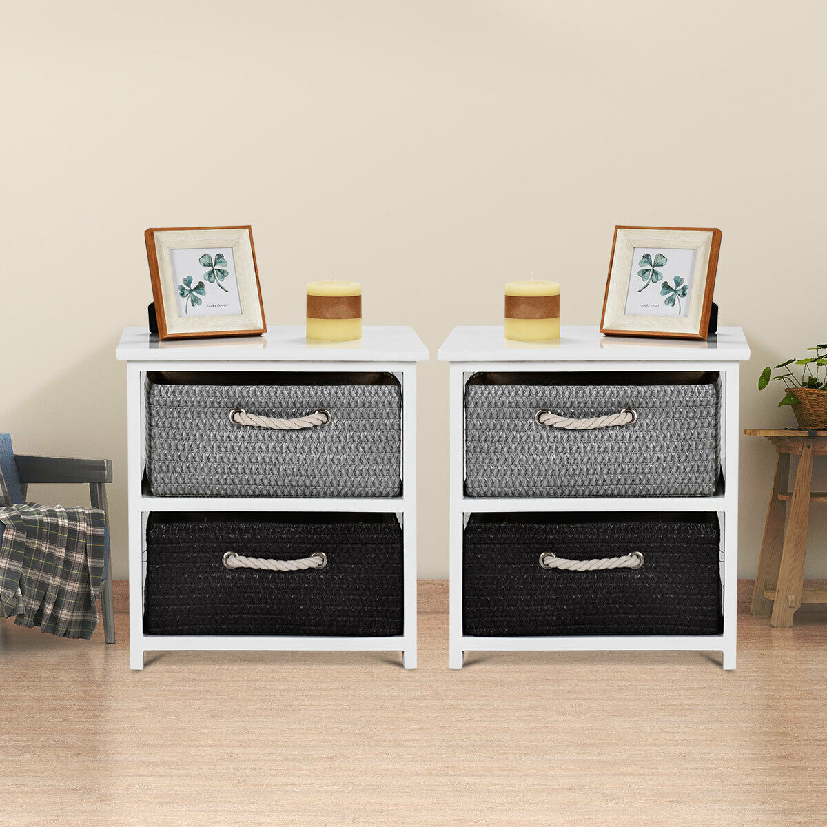 Gymax 2PC Wooden Nightstands 2 Weaving Baskets Bedside Table Storage Organizer Side Table - image 9 de 10