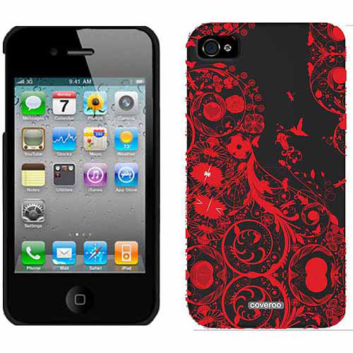 Retroswirl Red Design on Apple iPhone 4/4s Thinshield Snap-On Case by Coveroo