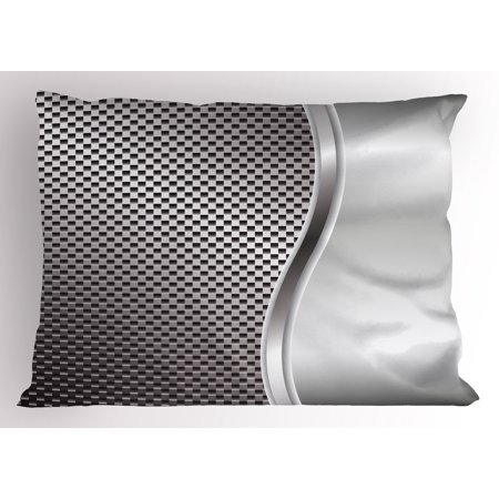 Grey Pillow Sham Cool Background with Square Shaped Grid Speaker Featured Industrial Iron Design Print, Decorative Standard Size Printed Pillowcase, 26 X 20 Inches, Silver, by Ambesonne