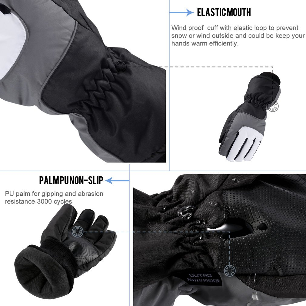 OUTAD Outdoor Elastic Waterproof Snow Ski Gloves Mountain Climbing for Men USA